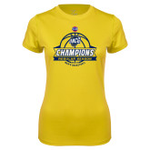 Ladies Syntrel Performance Gold Tee-2017 SoCon Regular Season Basketball Champions - Banner