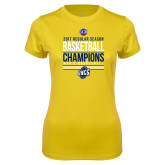 Ladies Syntrel Performance Gold Tee-2017 SoCon Regular Season Basketball Champions - Stacked