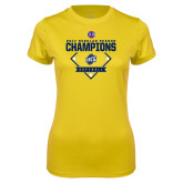Ladies Syntrel Performance Gold Tee-2017 SoCon Regular Season Softball Champions - Diamond