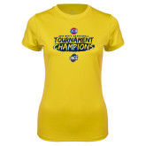 Ladies Syntrel Performance Gold Tee-2018 Mens Basketball Champions - Brush