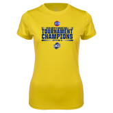 Ladies Syntrel Performance Gold Tee-2018 Mens Basketball Champions - Stacked