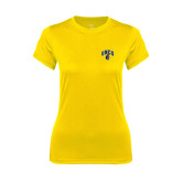Ladies Syntrel Performance Gold Tee-Arched UNCG w/Spartan