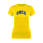 Ladies Syntrel Performance Gold Tee-Arched UNCG