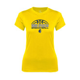 Ladies Syntrel Performance Gold Tee-Arched Basketball Design