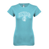 Next Level Ladies SoftStyle Junior Fitted Ice Blue Tee-Arched UNCG w/Spartan