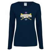 Ladies Navy Long Sleeve V Neck T Shirt-Baseball SoCon Champions 2017 - Crossed Sticks