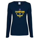 Ladies Navy Long Sleeve V Neck T Shirt-Baseball SoCon Champions 2017 - Diamond