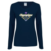 Ladies Navy Long Sleeve V Neck T Shirt-Baseball SoCon Champions 2017 - Banner w/ Plate