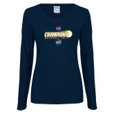 Ladies Navy Long Sleeve V Neck T Shirt-Baseball SoCon Champions 2017 - Ball in Motion