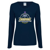 Ladies Navy Long Sleeve V Neck T Shirt-2017 SoCon Regular Season Basketball Champions - Banner