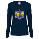 Ladies Navy Long Sleeve V Neck T Shirt-2017 SoCon Regular Season Basketball Champions - Stacked