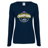 Ladies Navy Long Sleeve V Neck T Shirt-2017 SoCon Regular Season Basketball Champions - Arched