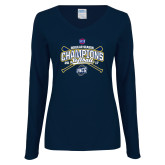 Ladies Navy Long Sleeve V Neck T Shirt-2017 SoCon Regular Season Softball Champions - Crossed Bats