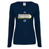 Ladies Navy Long Sleeve V Neck T Shirt-2017 SoCon Regular Season Softball Champions - Ball