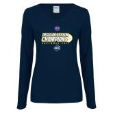 Ladies Navy Long Sleeve V Neck T Shirt-2017 SoCon Regular Season Softball Champions - Ball