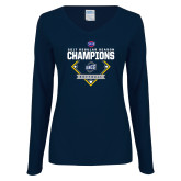 Ladies Navy Long Sleeve V Neck T Shirt-2017 SoCon Regular Season Softball Champions - Diamond