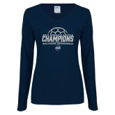 Ladies Navy Long Sleeve V Neck Tee-2017 Womens Soccer Champions