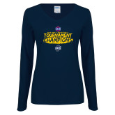 Ladies Navy Long Sleeve V Neck Tee-2018 Mens Basketball Champions - Brush