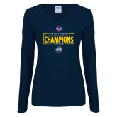 Ladies Navy Long Sleeve V Neck Tee-2018 Mens Basketball Champions - Box