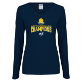 Ladies Navy Long Sleeve V Neck Tee-2018 Mens Basketball Champions - Net w/ Basketball