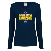 Ladies Navy Long Sleeve V Neck Tee-2018 Mens Basketball Champions - Stacked