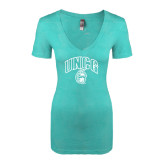 Next Level Ladies Vintage Tahiti Blue Tri Blend V Neck Tee-Arched UNCG w/Spartan
