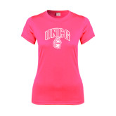 Ladies Performance Hot Pink Tee-Arched UNCG w/Spartan