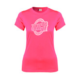 Ladies Performance Hot Pink Tee-UNCG Shield