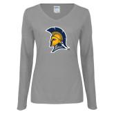 Ladies Grey Long Sleeve V Neck Tee-Spartan Logo