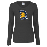 Ladies Dark Heather Long Sleeve V Neck Tee-Spartan Logo