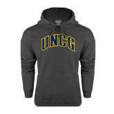 Charcoal Fleece Hoodie-Arched UNCG