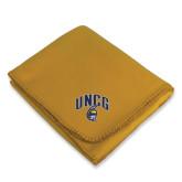 Gold Arctic Fleece Blanket-Arched UNCG w/Spartan