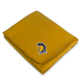 Gold Arctic Fleece Blanket-Spartan Logo
