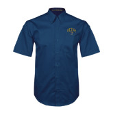 Navy Twill Button Down Short Sleeve-Arched UNCG w/Spartan