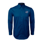 Navy Twill Button Down Long Sleeve-UNCG Shield