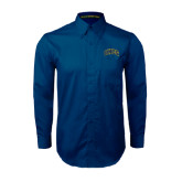 Navy Twill Button Down Long Sleeve-Arched UNCG