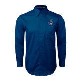 Navy Twill Button Down Long Sleeve-Spartan Head