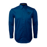 Navy Twill Button Down Long Sleeve-Arched UNCG w/Spartan