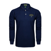 Navy Long Sleeve Polo-Arched UNCG w/Spartan