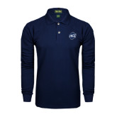 Navy Long Sleeve Polo-UNCG Shield