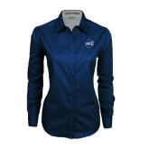 Ladies Navy Twill Button Down Long Sleeve-UNCG Shield