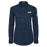 Ladies Navy Twill Button Down Long Sleeve-2018 Mens Basketball Champions