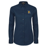 Ladies Navy Twill Button Down Long Sleeve-Spartan Logo