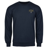 Navy Fleece Crew-Arched UNCG w/Spartan
