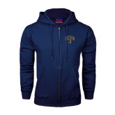 Navy Fleece Full Zip Hoodie-Arched UNCG w/Spartan