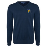 Classic Mens V Neck Navy Sweater-Spartan Logo