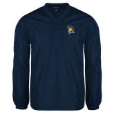 V Neck Navy Raglan Windshirt-Spartan Logo