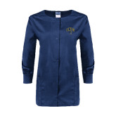 Ladies Navy Snap Front Warm Up Scrub Jacket-Arched UNCG w/Spartan
