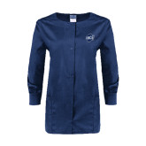 Ladies Navy Snap Front Warm Up Scrub Jacket-UNCG Shield