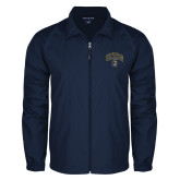 Full Zip Navy Wind Jacket-Arched UNCG w/Spartan